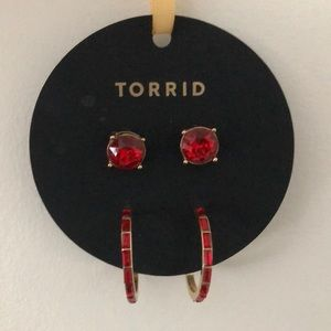 Red & Gold Earring Set